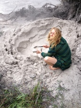 Joel collecting the famous bubbling Rotorua mud.